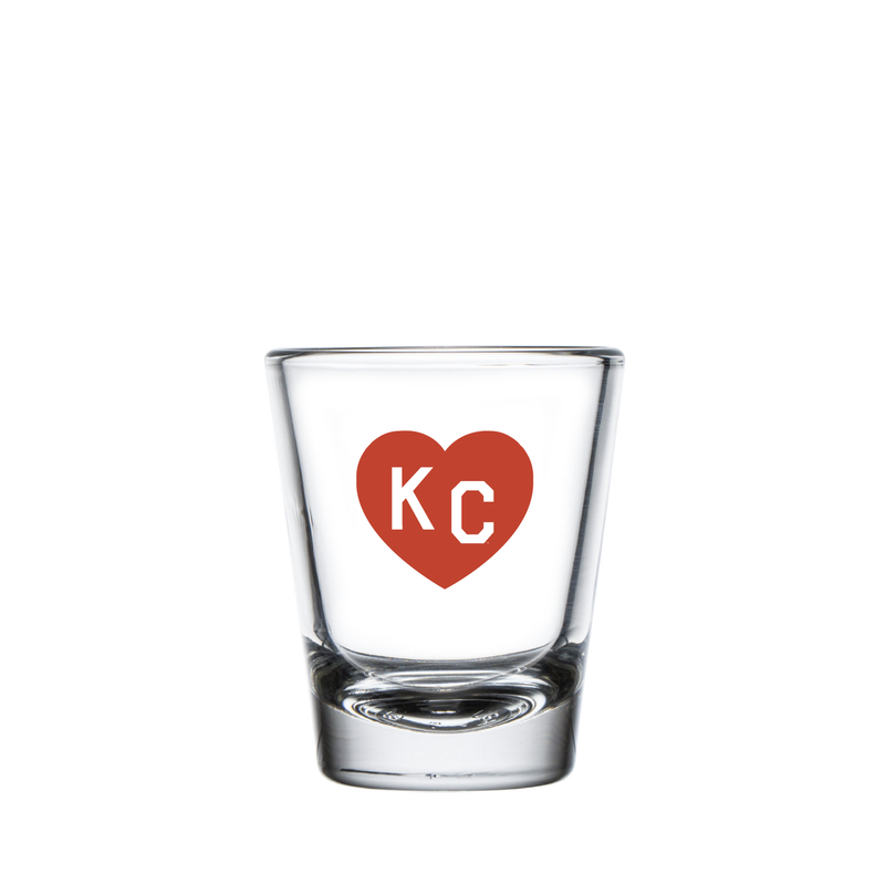 Made in KC x Charlie Hustle KC Heart Shot Glass: Red