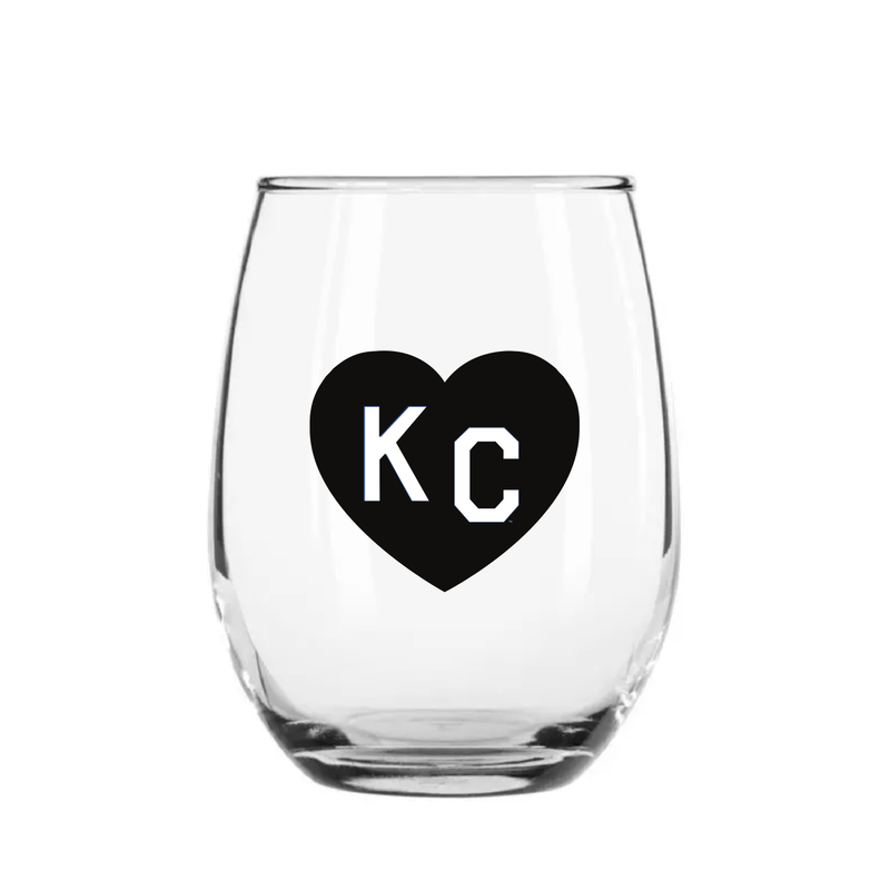 Made in KC x Charlie Hustle KC Heart Stemless Wine Glass: Black