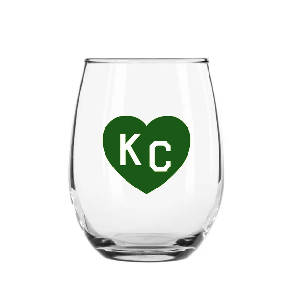 Made in KC x Charlie Hustle KC Heart Stemless Wine Glass: Green/White