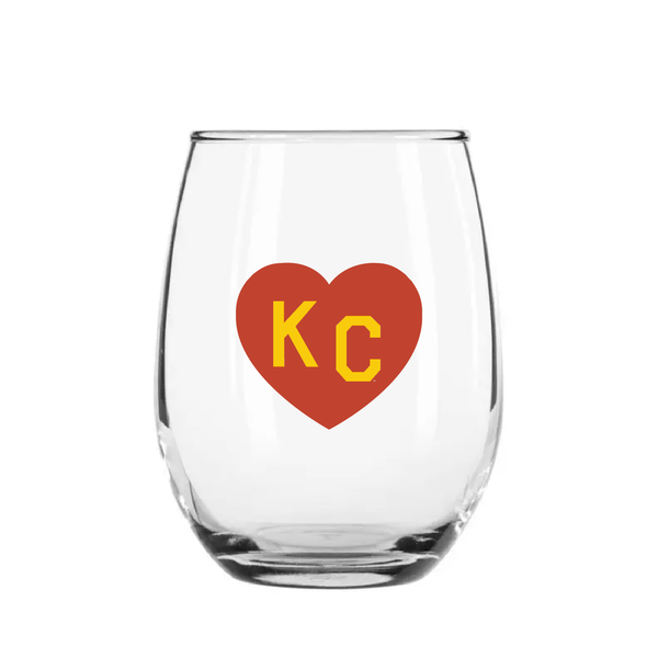 Made in KC x Charlie Hustle KC Heart Stemless Wine Glass: Red/Yellow