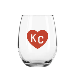 Made in KC x Charlie Hustle KC Heart Stemless Wine Glass: Red