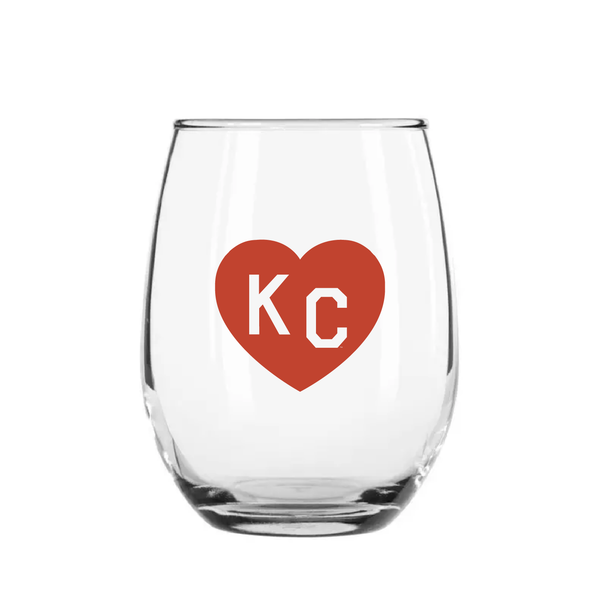 Made in KC x Charlie Hustle KC Heart Stemless Wine Glass