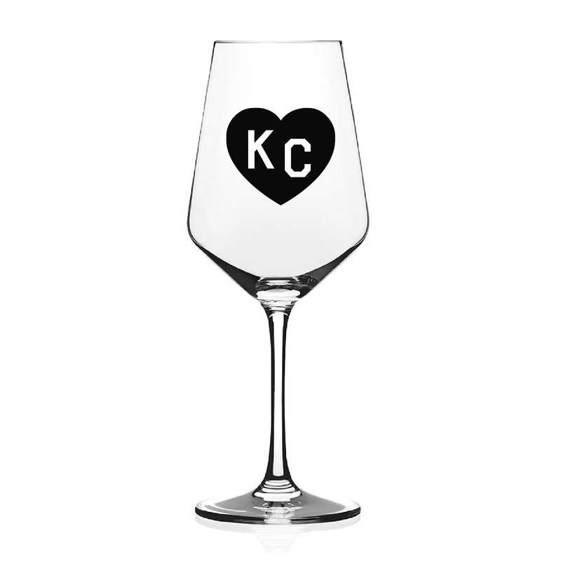 Made in KC x Charlie Hustle KC Heart Wine Glass: Black