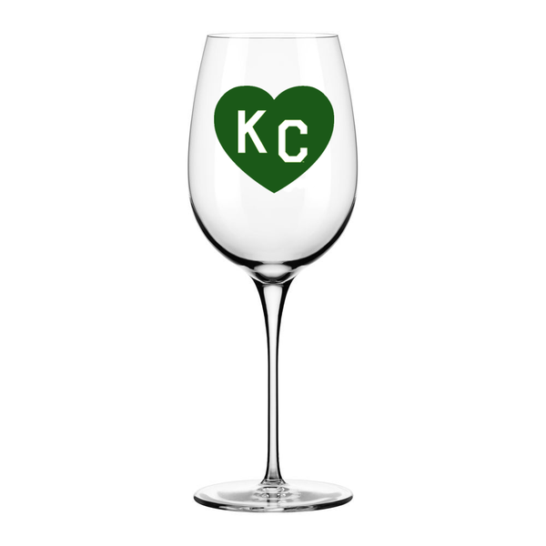 Made in KC x Charlie Hustle KC Heart Wine Glass: Green/White
