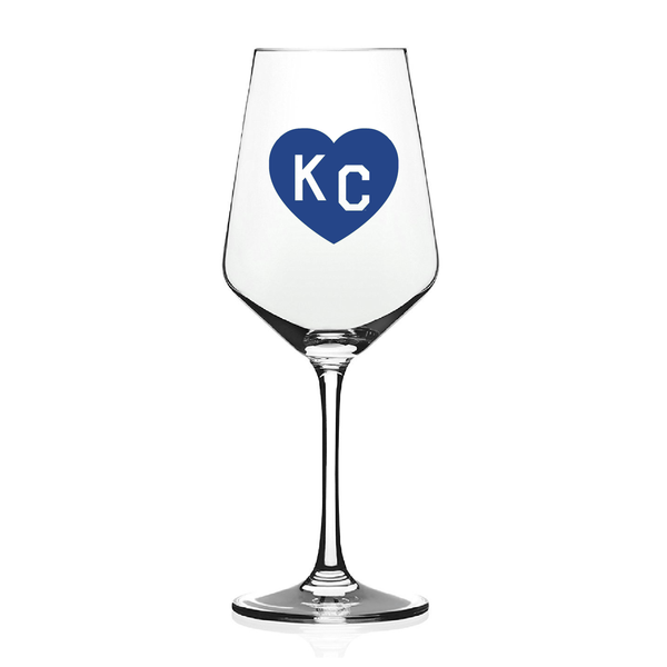 Made in KC x Charlie Hustle KC Heart Wine Glass: Royal Blue