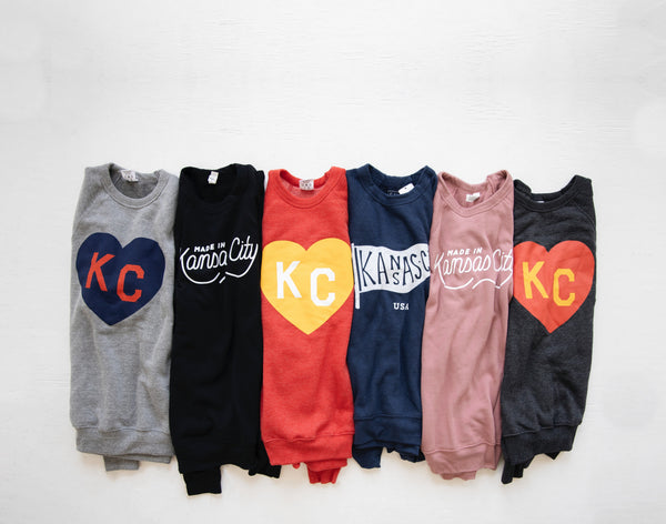 Charlie Hustle KC Heart Sweatshirt: Charcoal, Red & Yellow