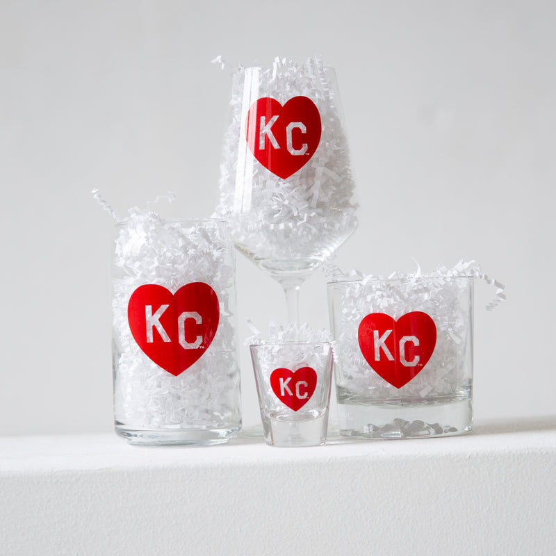 Made in KC x Charlie Hustle KC Heart Rocks Glass: Red