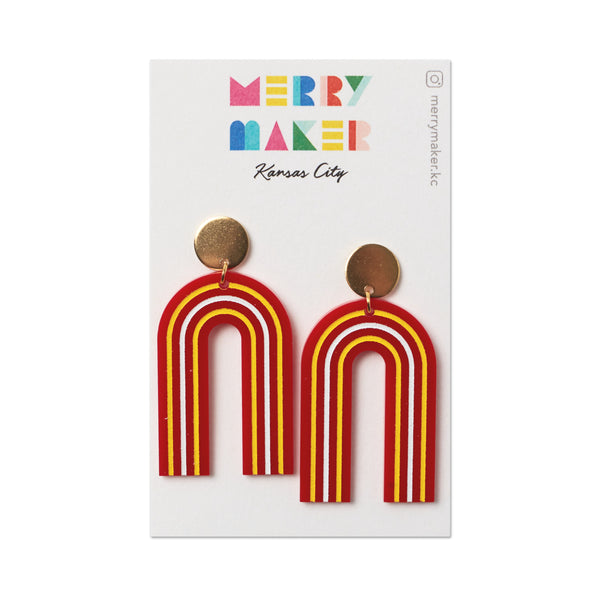 Merry Maker Arch Earrings - Red & Yellow Stripe
