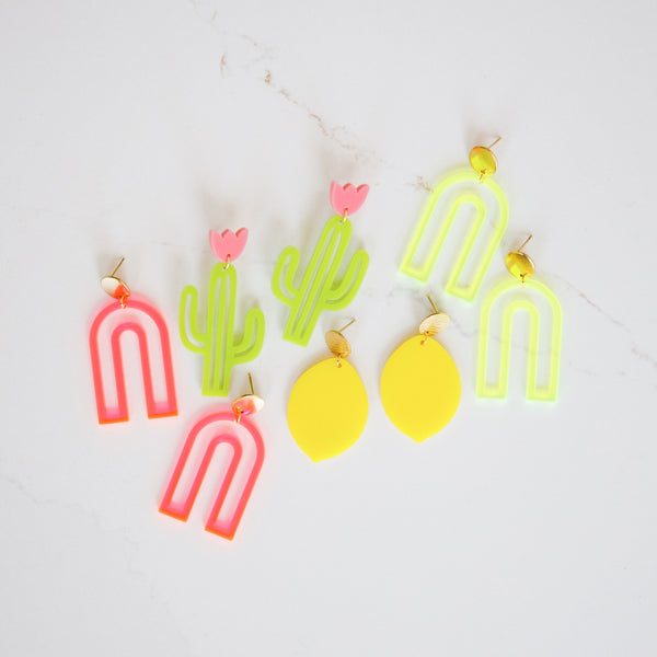 Merry Maker Arch Earrings - Fluorescent Yellow