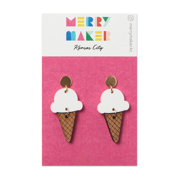 Merry Maker Ice Cream Cone Earrings