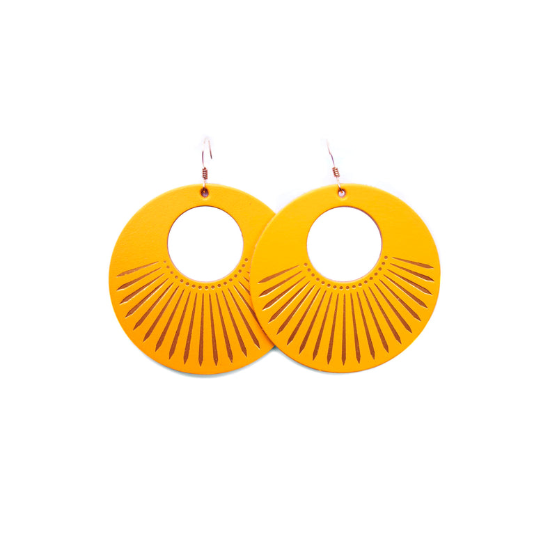 Nickel & Suede Sunburst Nova Earrings - Gold