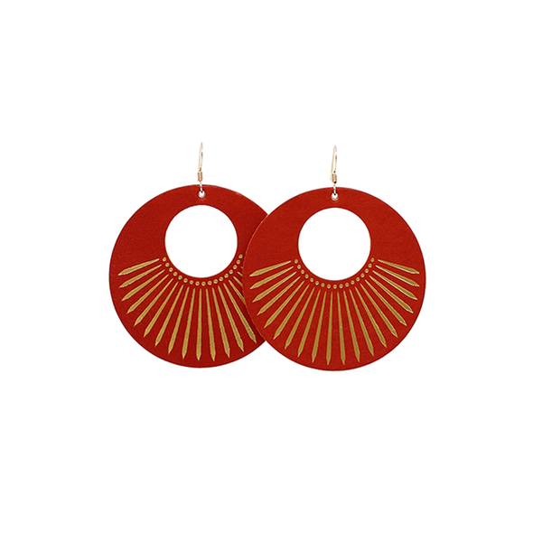 Nickel & Suede Sunburst Nova Earrings - Red