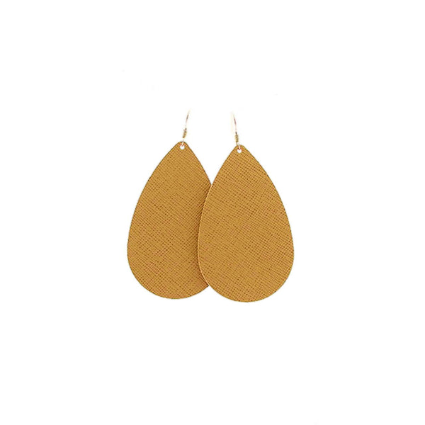 Nickel & Suede Teardrop Earrings - Textured Gold
