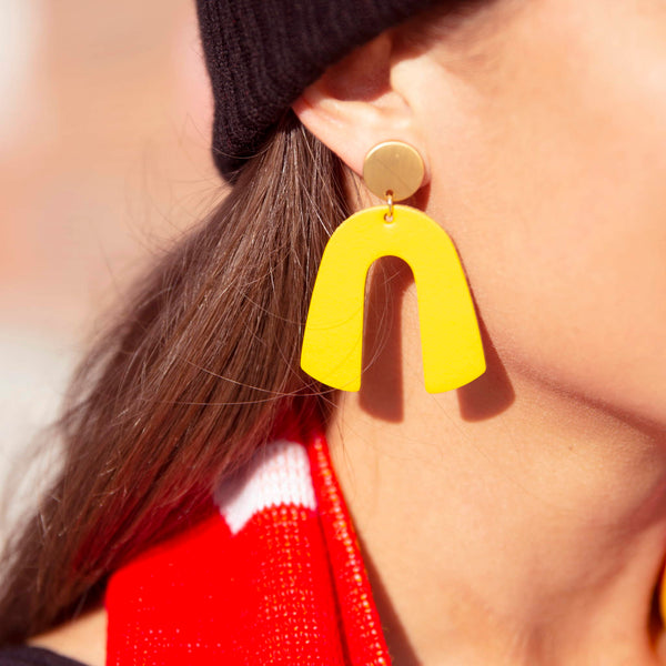 Nickel & Suede Beau Earrings - Gold