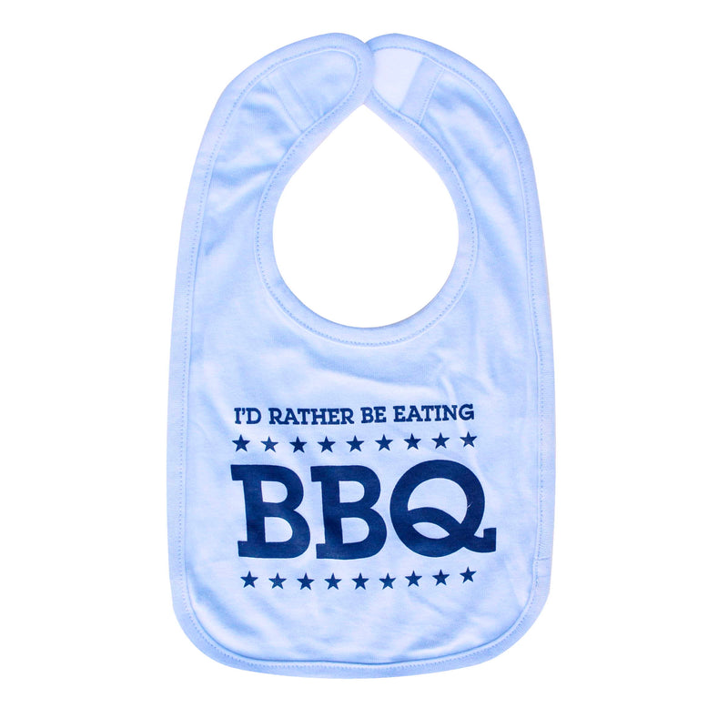 Normal Human I'd Rather Be Eating BBQ Bib - Blue