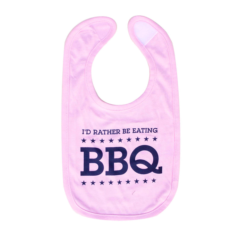Normal Human I'd Rather Be Eating BBQ Bib - Pink