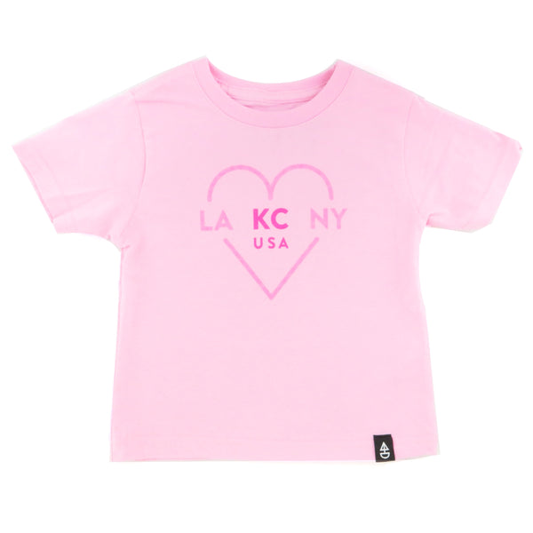 Ocean & Sea LA KC NY Kids Tee Pink