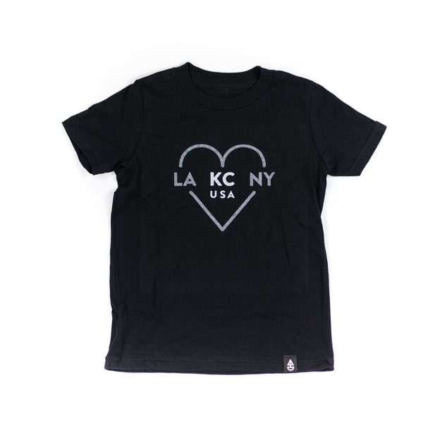 Ocean & Sea LA KC NY Black Kids Tee