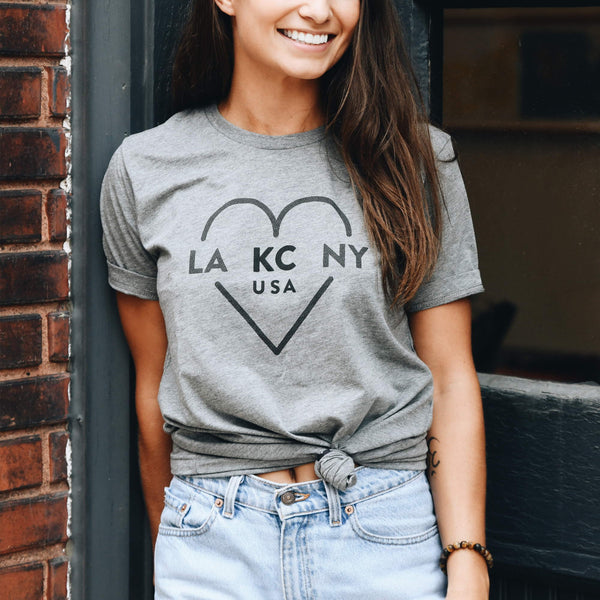 Ocean & Sea Light Grey LA KC NY Tee
