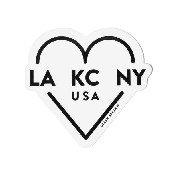 Ocean & Sea LA KC NY Heart Decal