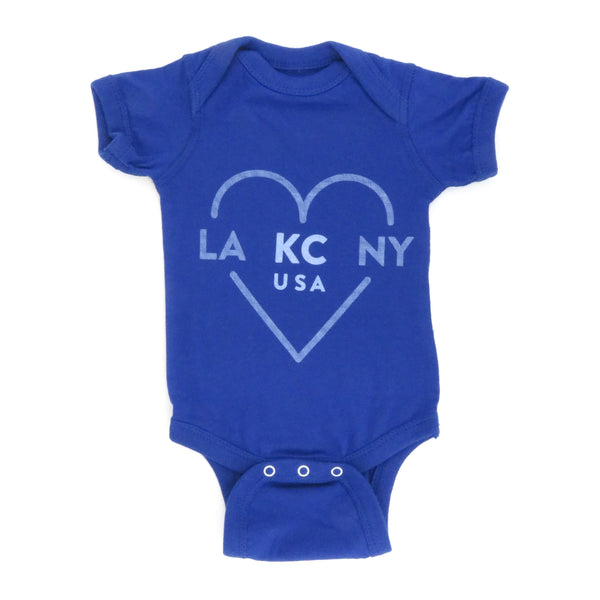 Ocean & Sea LA KC NY Onesie Royal Blue