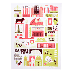 Patrick Giroux KC Landmark Screen Print - Neon Red/Old Gold