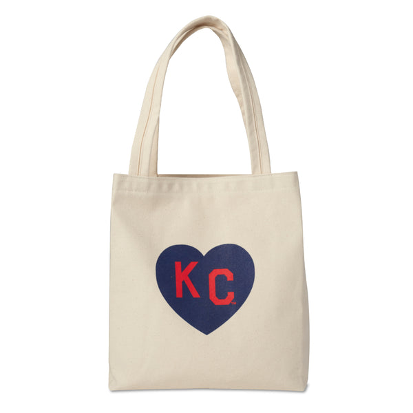 Sandlot Goods x Charlie Hustle KC Heart Natural Tote: Navy & Red