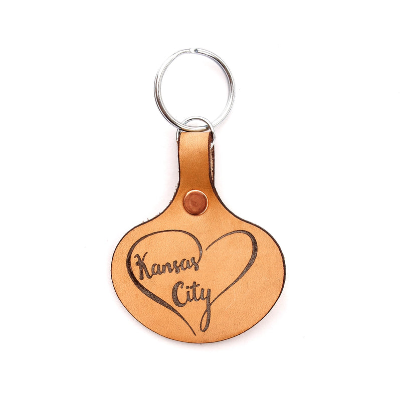 Say It On Wood Kansas City Heart Leather Keychain