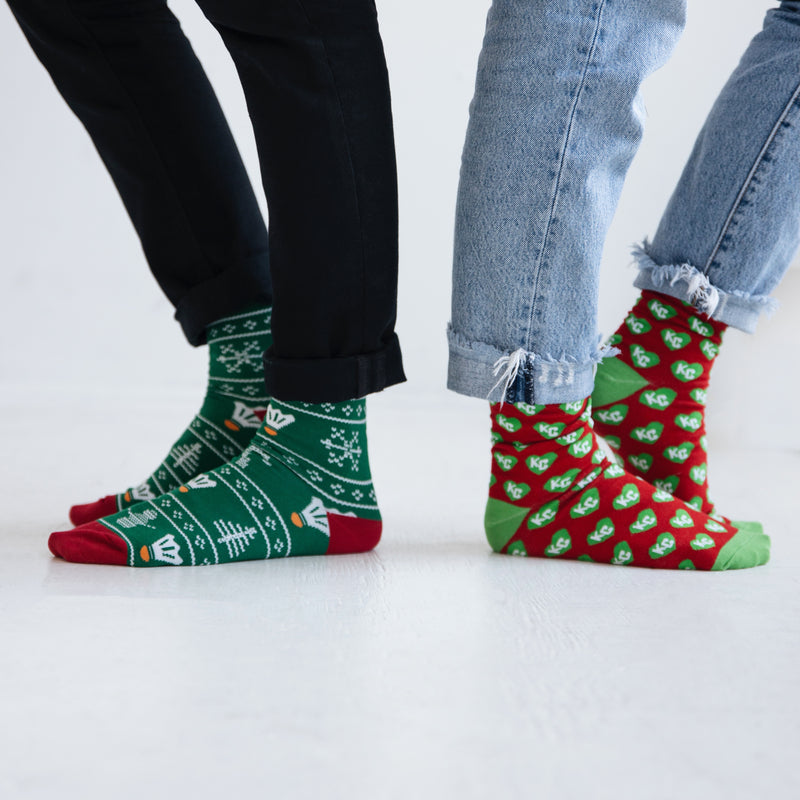 School of Sock Green and Red KC Heart Sock