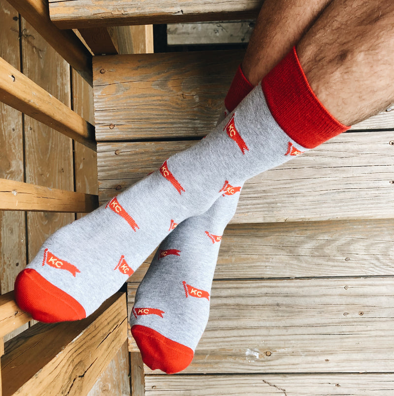 School of Sock KC Pennant Socks - Red & Yellow