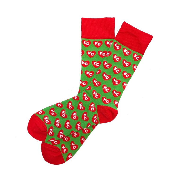 School of Sock Red and Green KC Heart Socks