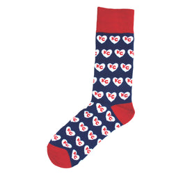 School of Sock Red, White and Blue Heart KC Socks