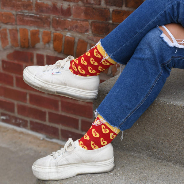 School of Sock Red and Yellow Heart KC Socks