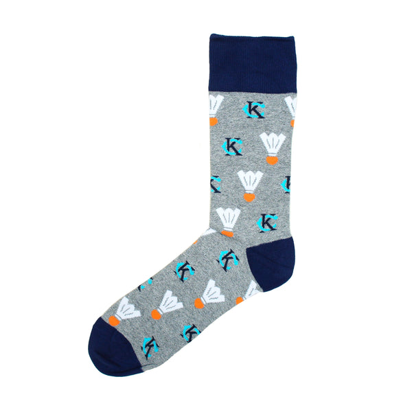 School of Sock KC Logo Shuttlecock Socks - Grey & Navy