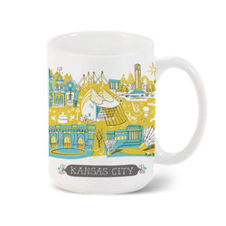 Tammy Smith Kansas City Landmarks Mug - Blue & Yellow