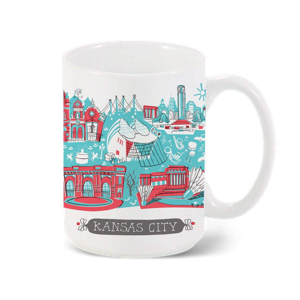 Tammy Smith Kansas City Landmarks Mug - Red & Blue