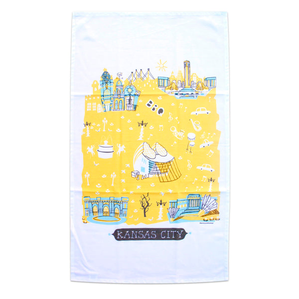 Tammy Smith Kansas City Landmarks Tea Towel - Blue & Yellow