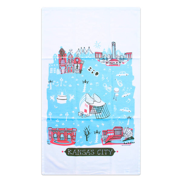 Tammy Smith Kansas City Landmarks Tea Towel - Red & Blue