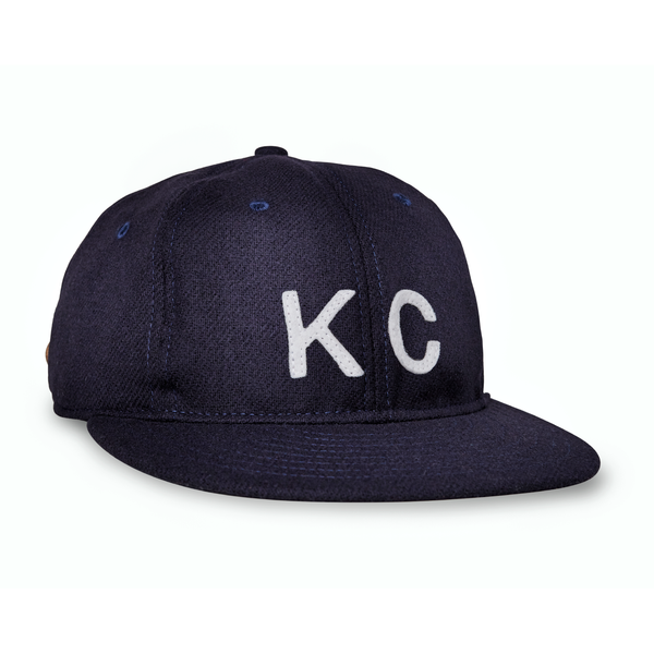 Sandlot Goods Navy Wool Vintage Flatbill Hat - White KC
