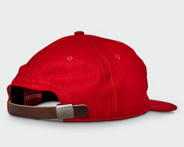 Sandlot Goods Red Vintage Flatbill Hat - White Triple Stitch