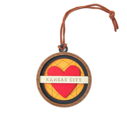 Wee Woodworks Kansas City Heart Round Ornament