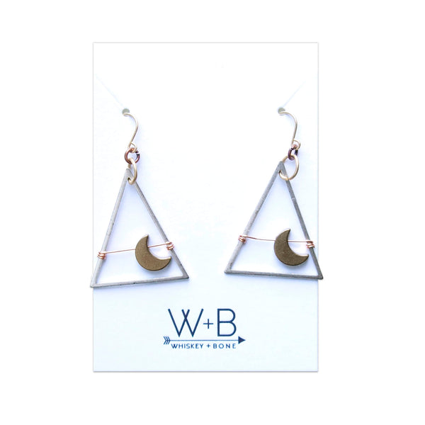 Whiskey + Bone Moondance Earrings: Antique Silver