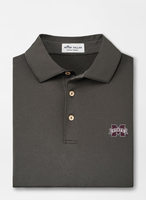 Peter Millar MSU Mississippi State Solid Performance Polo: Iron