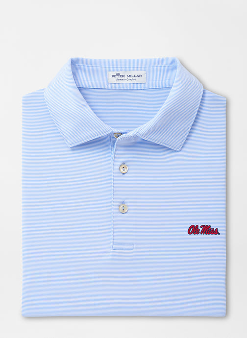 Peter Millar Ole Miss Jubilee Stripe Performance Polo: Cottage Blue