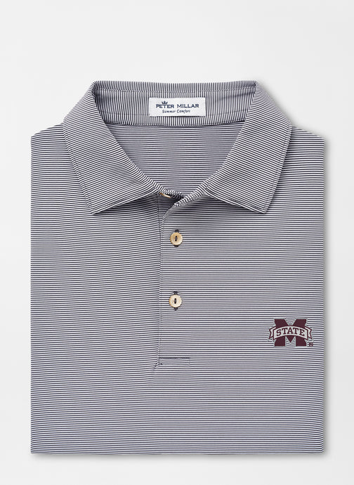 Peter Millar MSU Mississippi State Jubilee Stripe Performance Polo: Iron