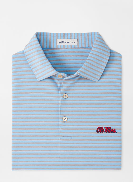 Peter Millar Ole Miss Mills Stripe Performance Polo: Cottage Blue