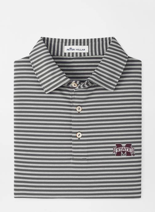 Peter Millar MSU Mississippi State Mills Stripe Performance Polo: Iron