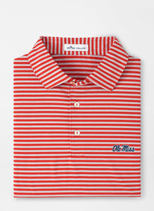 Peter Millar Ole Miss Ole Miss Mills Stripe Performance Polo: Red
