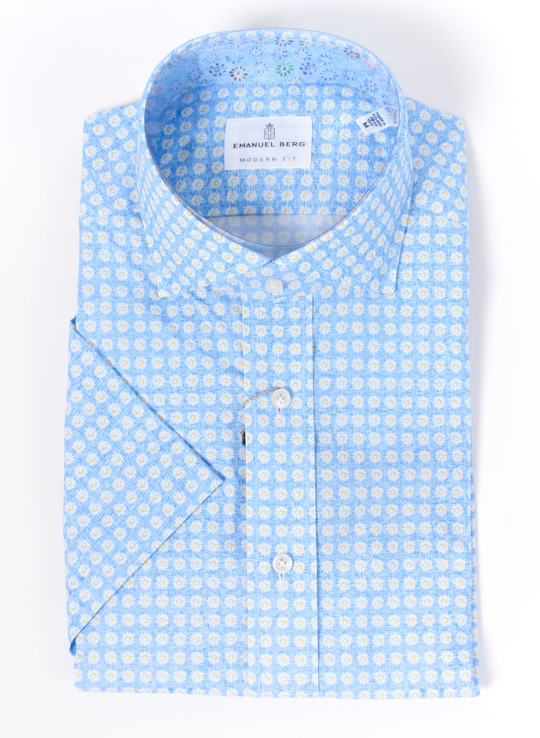 Emanuel Berg Short Sleeve Sport Short: Blue Flowers