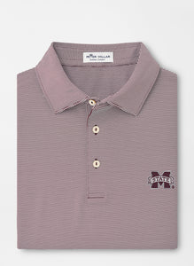 Peter Millar MSU Mississippi State Jubilee Stripe Performance Polo: Maroon